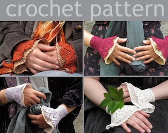 PDF CROCHET PATTERN - open work layered wrist warmers cuffs