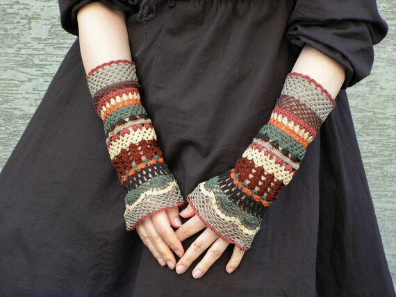 Total Colorization: Earth Tones - crocheted open work lacy wrist warmers cuffs hippie boho style