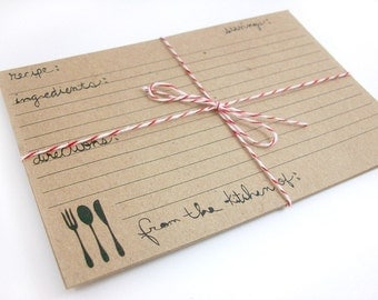 Printable Recipe Cards - Rustic Farmhouse Cutlery Fork Knife Spoon Instant Download Version