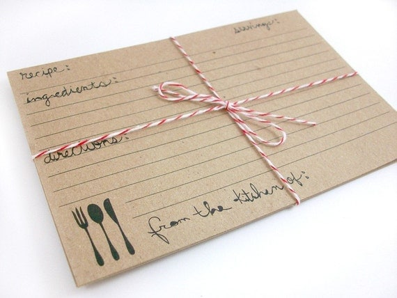 Reserved for belindaphillips - Kraft Paper Recipe Cards - Farmhouse Fork Set of 100