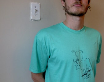 Caribou print mint green tshirt - Large