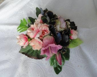 Bridal bouquets, hair fascinator, silk flower corsage, hair pin, hat embellishement, wrist corsage