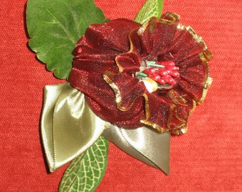 Bridal flowers, fascinator, head piece, hand made, organza Ruby red Bell flower pin on, corsage, wrist corsage, hat or hair pin