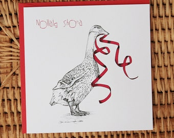 Nollaig Shona 'Happy Christmas' Indian ink illustrated Festive Goose with red ribbon **FREE SHIPPING**