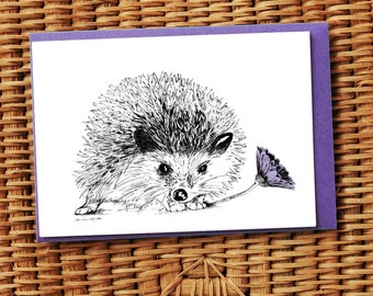 Hedgehog with purple daisy illustrated card