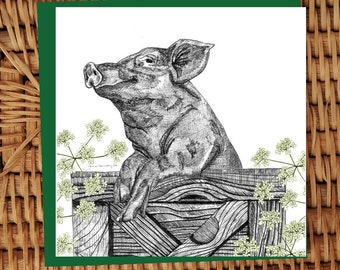 Pig with Cow Parsley indian ink illustrated card
