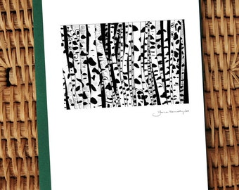 Silver Birch indian ink illustrated card