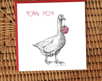 Goose with Bauble card **FREE SHIPPING**