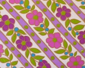 vintage sheet fabric fat quarter (orchid violet flowers with stripes and turquoise dots)