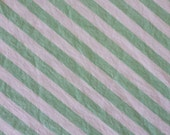 vintage COTTON sheet fabric fat quarter (mint green and white stripes)