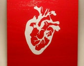 Red & White Anatomical Heart Woodblock Painting - Valentine's Day - Ready to Ship