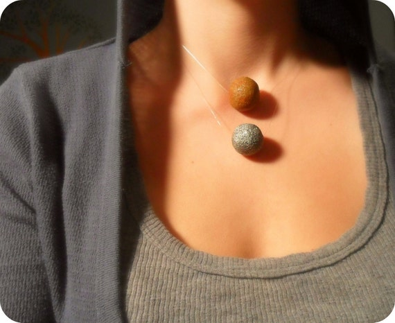 The Full Moon - Floating Necklace - Repurposed Concrete Bead