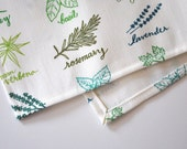 herbs - tea towel - linen-cotton - kitchen towel - dish towel