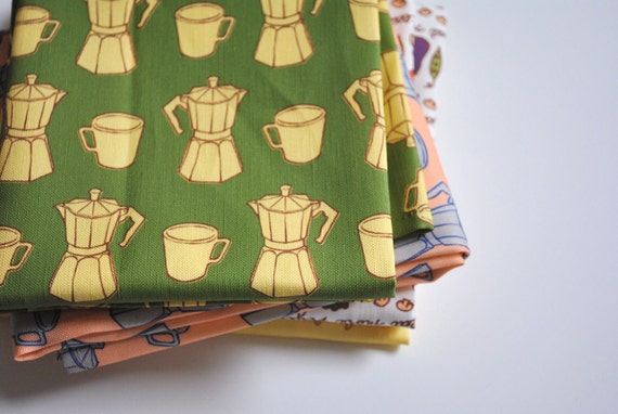 espresso makers - tea towel - linen-cotton - kitchen towel - green
