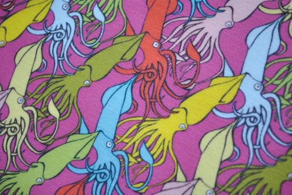 SALE - cephalopods - squid fabric - neon fabric - original fabric - fat quarter