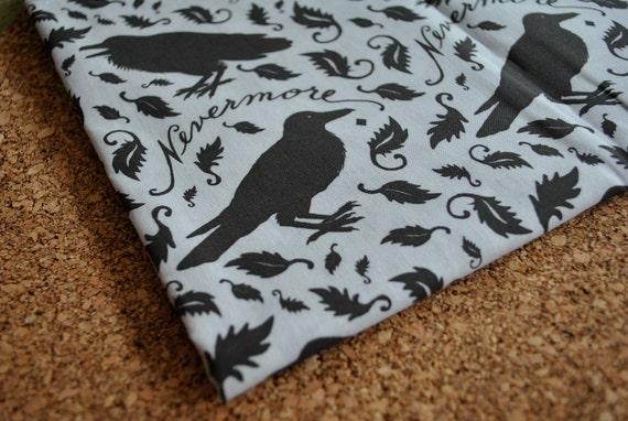 nevermore - raven fabric - original fabric - gothic fabric - fat quarter - gray