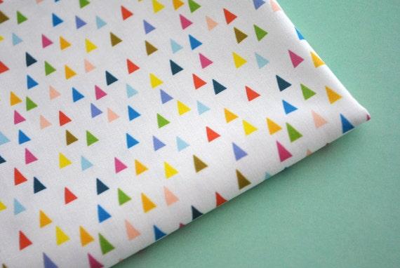 mountains - original fabric - fat quarter - triangle fabric - geometric fabric - rainbow fabric