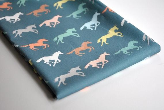 gallop - horse fabric - original fabric - fat quarter - blue