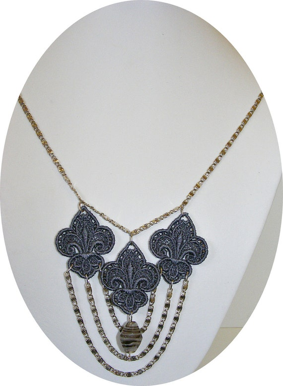 boho chic  triple fleur-de-lis stunning grey embroidered lace necklace with bead accent