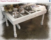 Falling Leaves Vintage Window Shabby Cottage White Coffee Table vintage spindle legs