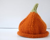 LIL PUMPKIN - Baby knit hat - newborn children baby kids - halloween orange unique