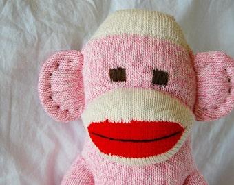 PINK Classic Sock Monkey - traditional childrens gift original plush doll