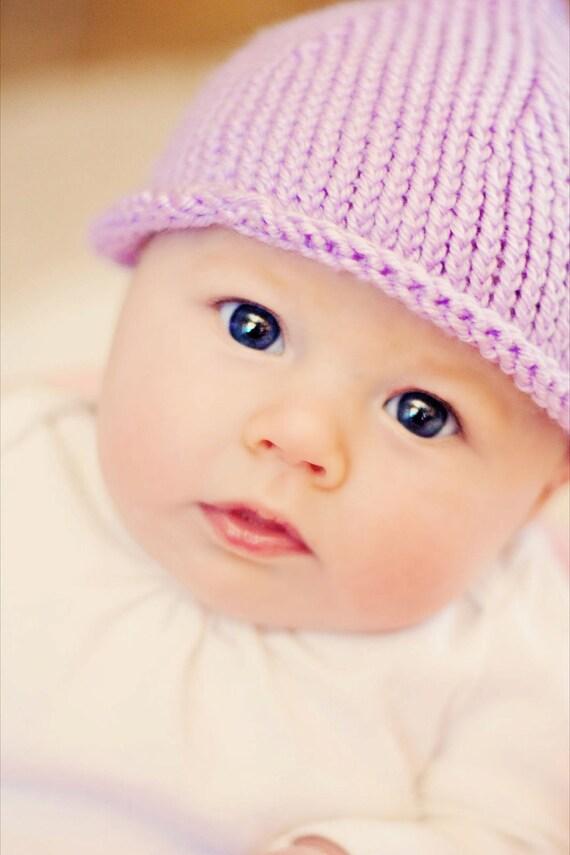 Baby knit hat - knot hat - Lavender - purple children kids newborn