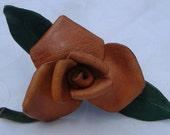 Vintage Leather Flower Pin