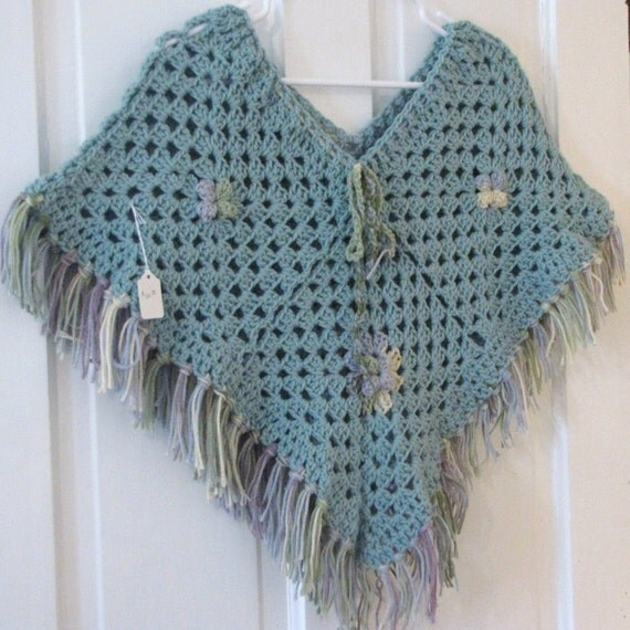 Crocheted Green Childs Poncho
