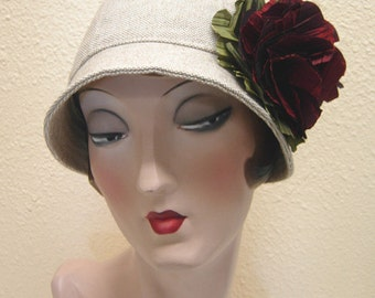 Cotton/linen Luda Cloche w flower. FREE SHIPPING.