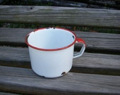 Big SALE Old farmhouse metal enameled white cup, mug coffee tea soup cup, vintage shabby cottage chic