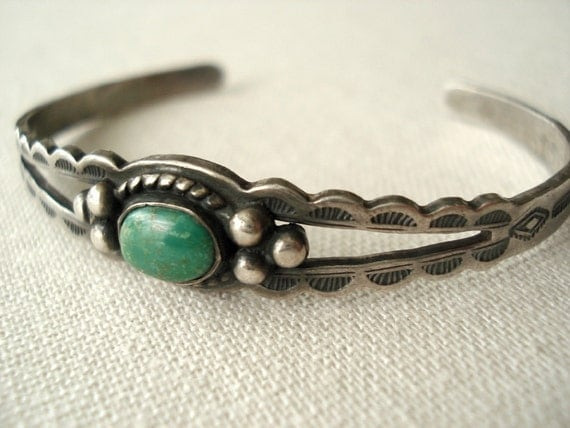 SALE Small Old Native American Turquoise Silver Bracelet