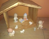 Wood Nativity Manger/Creche - Solid Canary Wood