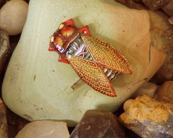 1970's Vintage Recycled  Tin Lithograph Japanese Cicada Brooch