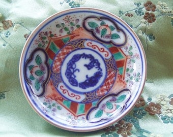 Antique Sho-chiku-bai Chinese  Miniature Hand Painted  Dish