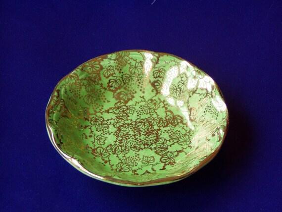 Vintage English Miniature Green and Gold Midwinter Burslem Dish