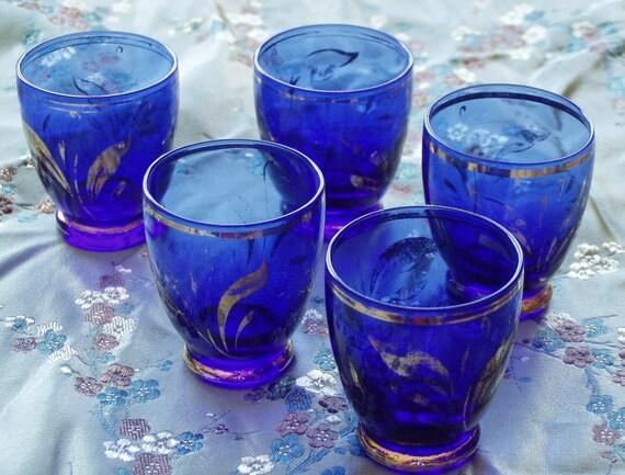 SALE! Vintage Cobalt Blue Liqueur Glasses