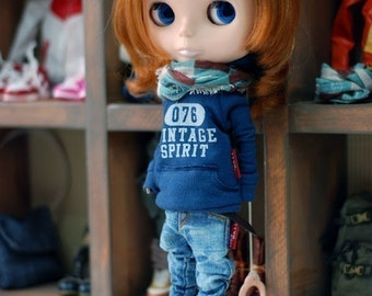Blythe-Vintage spirit Hooded T-Blue