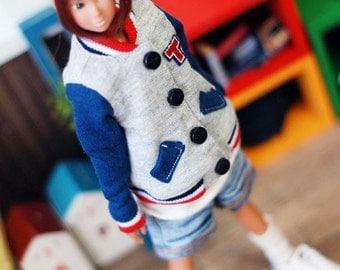 Lovely baseball jumper-blue  momoko clothe