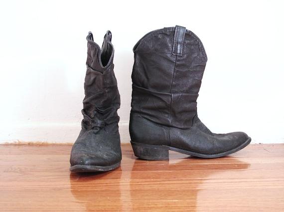 black soft top leather cowboy boots