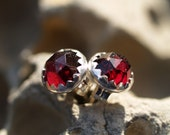 6mm rose cut garnet earrings