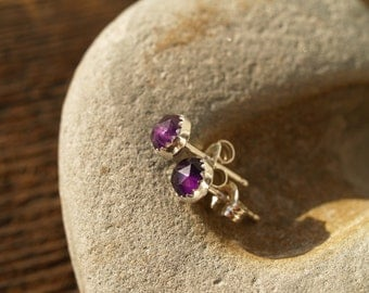 5mm rose cut amethyst ear posts