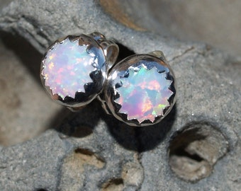 5mm fire and ice white lab created opal ear posts