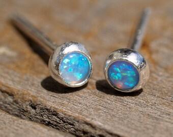 itty bitty lab opal ear studs in silver