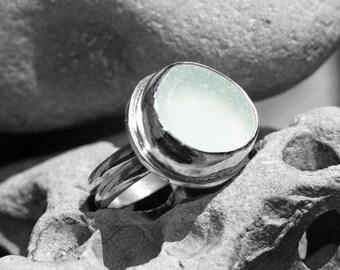 seafoam sea glass ring, size 7 1/4