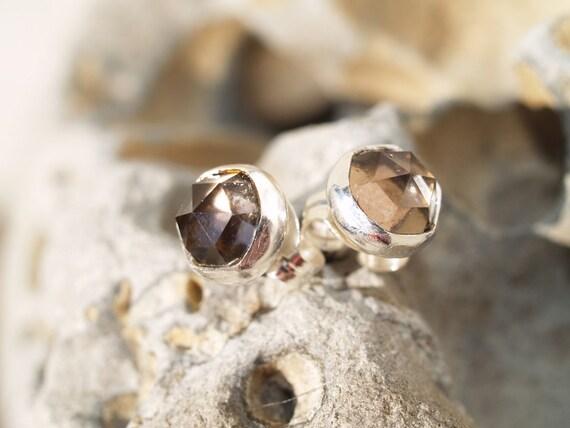smoky quartz ear studs