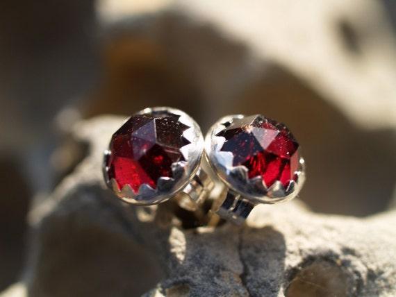 6mm rose cut garnet earrings