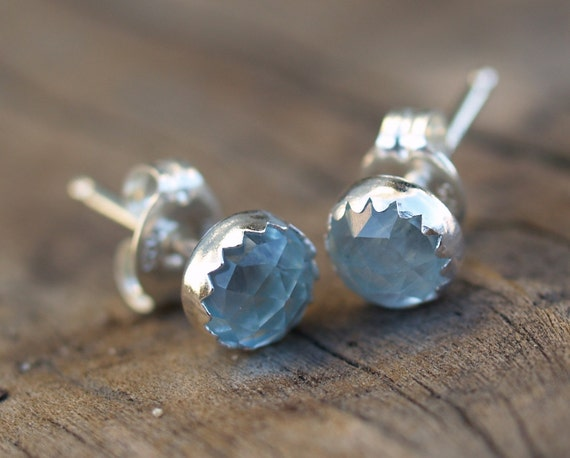 rose cut aquamarine earrings