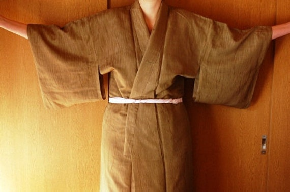 Kimono In Olive Green With Red Lining From Japan, Dressing Gown, Lingerie, Loungewear, Size L XL