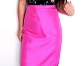 Silk Pencil Skirt, Hot Pink